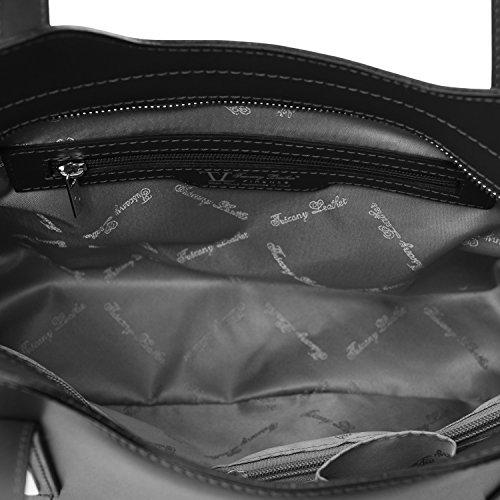 Tuscany Leather - Olimpia - Sac cabas en cuir Ruga - Bleu