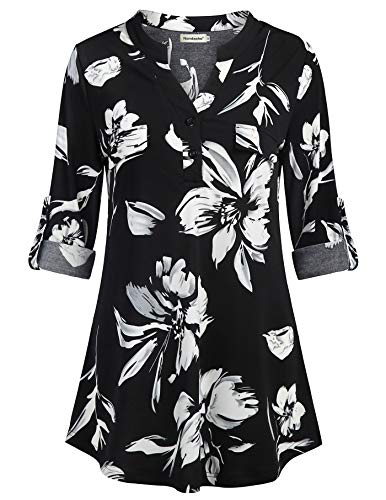 - Nandashe Work Blouse Business Casual, Office Uniform Basic Undershirts Going Out Tops for Women Petite Tops and Blouse Stripe Cross Linen Vertical Blouse Floral Tunics for Women Black White L