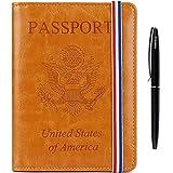 Passport Holder Cover wallet Case-Leather RFID Blocking Travel Document Organizer with Bonus Pen for women men(Dark Orange)