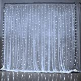 Curtain Lights - SOLMORE 3M x 3M 300LED Christmas String Fairy Lights - Window Curtain Light - Wedding Lights - Festival Led Icicle Lights for Xmas - Wedding - Party - Home - Wall - Garden - Decorations(Pure White)