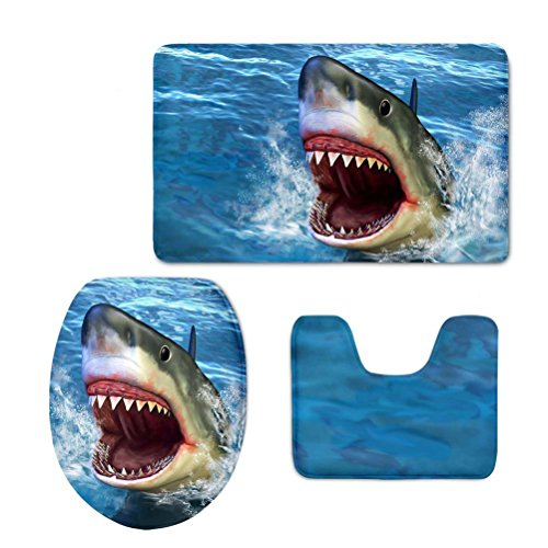 Shark Bathroom Rug Set, 3 Piece Bath Mat Sets Soft Skidproof Toilet Seat Cover Bath Mat Lid -
