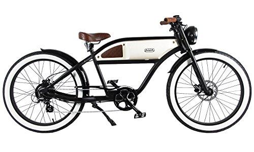 GREASER RETRO STYLE Electric BIKE - 26' Wheels, Bafang 350W Brushless Electric Motor, 7-speed, 36V13Ah, Li-Ion Battery, Extended Range, Black/White