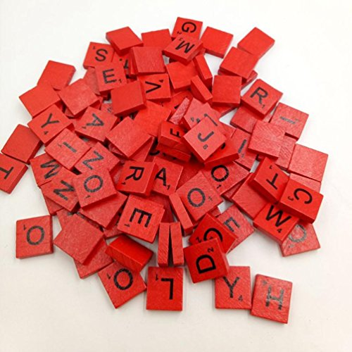 Matoen 100PC/Set Wooden Scrabble Tiles Black Letters Numbers for Crafts Wood Alphabets Games (Red) -