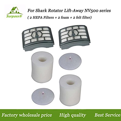 2 HEPA Filter + 2 Foam Flet Filter Kit for Shark Rotator Pro Lift-Away NV500 NV501 NV505 NV552 HEPA Filter & Foam Filter Kit, Part # XFH500 & XFF500 - 2 Replacement Vacuum
