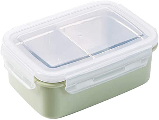 YXF Bento Box de plástico Acero Inoxidable Caja de Almuerzo Inyección de Agua de Aislamiento portátil envase de alimento for niños Picnic de la Escuela Trabajadores de Oficina, Rosa (Color : Green):