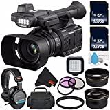 Panasonic AG-AC30 Full HD Camcorder with Touch Panel LCD Viewscreen AG-AC30PJ + 128GB SDXC Class 10 Memory Card + Carrying Case + Professional 160 LED Video Light + Sony MDR-7506 Headphone Bundle