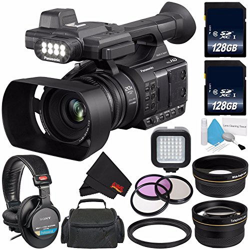 Panasonic AG-AC30 Full HD Camcorder with Touch Panel LCD Viewscreen AG-AC30PJ + 128GB SDXC Class 10 Memory Card + Carrying Case + Professional 160 LED Video Light + Sony MDR-7506 Headphone Bundle by 6Ave