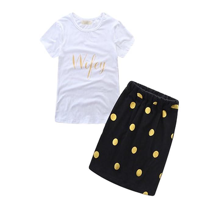 Dexinx Primavera y Verano de Ropa Diferente para Madre e Hija En Camisetas, Chaleco,