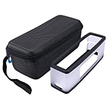 Hard Travel Bag Carrying Case with Soft Cover for Bose Soundlink Mini I and Mini II Bluetooth Speaker - Fits the Charger Cable