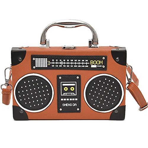 Girls Bag Brown Clasp WINGOFFLY Bag Strap Shoulder Vintage Bag Clip Women Body Handbag Shaped Radio for Cross ppqaPYBnx