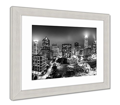 (Ashley Framed Prints Black And White Aerial View Of Charlotte Nc Skyline, Wall Art Home Decoration, Color, 30x35 (frame size), Silver Frame, AG6349045)
