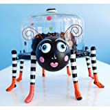 Glitterville Halloween Spider Cake Stand with Glass Dome Cover, 3-piece Set