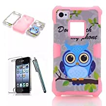 iPhone 4S Case, Lantier Grey Ground Owls Silicone 3 in 1 Combo Hybrid Shockproof Armor Protective Case/Pink