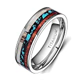 TIGRADE 6mm 8mm Deer Antlers Titanium Ring Turquoise Wood Inlaid Wedding Band,6mm, Size 9
