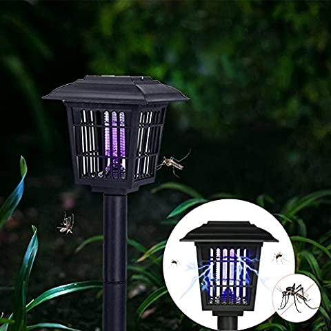 Solar Mosquito Killer, Insect Bug Zapper for Indoor Outdoor, Pest Control Path Lights Perfect for Gardens, Pools, Yards, Patio (2 Lighting Modes: Purple for Mosquito Zapper, White for Garden (Peri Zapper)