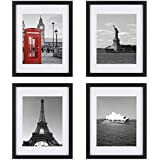 ONE WALL Tempered Glass 11x14 Picture Frame Set of 4 with Mats for 8x10, 5x7