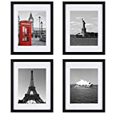 Upgraded Tempered Glass 4Pcs 11x14 Picture Frame with Mats for 8x10 Documents Black