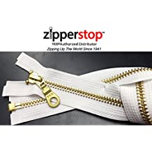 ZipperStop Wholesale YKK® -Jacket Zipper Brass Finished (Custom Length) YKK®#5 Medium Weight with Fancy Donut Pull Slider Separating Color WHITE Made in USA (10 Inches)