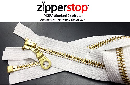 ZipperStop Wholesale YKK® -Jacket Zipper Brass Finished (Custom Length) YKK®#5 Medium Weight with Fancy Donut Pull Slider Separating Color WHITE Made in USA (14 Inches) 5 Non Separating Zipper