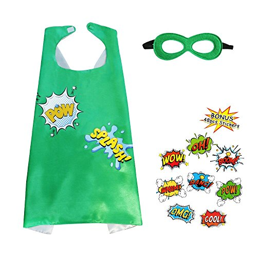 Flying Childhood Super Hero Cape and Mask for Kids with 48 Superhero Word Cutouts Stickers-Boys&Girls Dress up Party Supplies (Dress Up For Halloween Invitation)