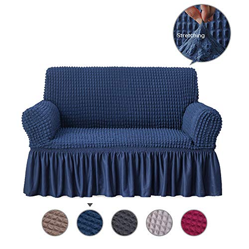 Alpha Belle 1 Piece Univeral Fit Easily Sofa Slipcover with Elastic Quick-Drying Fabric Durable Stretchable Sofa Protector Couch Cover with Ruffle Skirt Machine Washable (2-seat Loveseat/Dark Blue)
