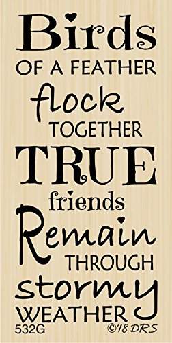 Birds Of A Feather Friends Greeting Rubber Stamp by DRS Designs Rubber Stamps