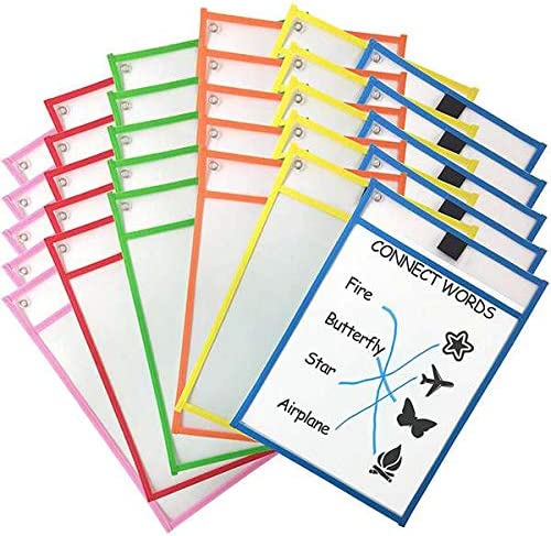 SNOWINSPRING 30Dry Erase Pockets Pockets Perfekte Organisation im Klassenzimmer Wiederverwendbare Dry Erase Pockets Unterrichtsmaterial