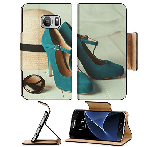 Luxlady Premium Samsung Galaxy S7 Flip Pu Leather Wallet Case IMAGE ID 31115665 Retro style image of female fashion straw hat sun glasses and turquoise shoes over white - Sunglasses Mary Kate
