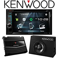 """Kenwood DDX374BT 6.2"""" Multimedia Receiver with Bluetooth and Kenwood P-W100B Vented Enclosure Box Subwoofer with 400W Amplifier"""