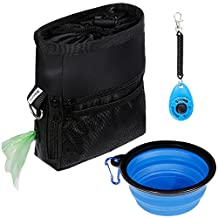 Zacro Dog Treat Training Pouch Bag with Waist Belt and Over the Shoulder Strap,One Training Clicker , One Food Water Bowl and One Garbage Bag