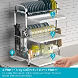 Dish Drying Rack, iSPECLE 3-Tier Large Capacity 201