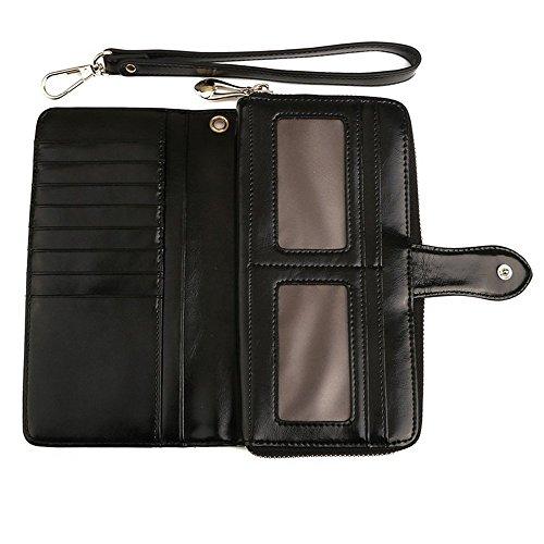 S LOVE Women Leather Long Wallet Black