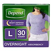 Depend Night Defense Incontinence Overnight Underwear for Women, 30 Count (Packaging may vary)