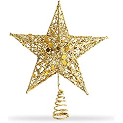 Star Tree Topper, Exquisite Shimmery 8-inch x 6-inch Star Christmas Tree Topper Christmas Tree Decoration 5 Point Star Treetop Decor (Gold)