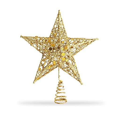 - Star Tree Topper, Exquisite Shimmery 8-inch x 6-inch Star Christmas Tree Topper Christmas Tree Decoration 5 Point Star Treetop Decor (Gold)