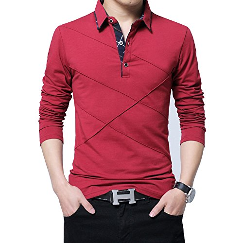 Wishere Men's Fashion Polos T-shirt Cotton Striped Short-sleeved Polo Shirt Casual Tops