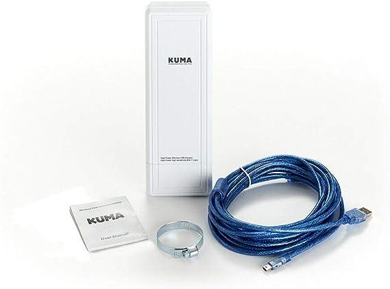 KUMA Antena Wi-Fi de Alta Potencia y Largo Alcance con Conector USB y Amplificador para caravanas, autocaravanas, Camiones, Furgonetas y Barcos