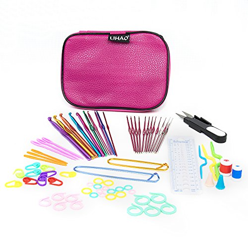 LIHAO 59 Piece Crochet Hooks Yarn Knitting Needles Stitch Markers Gauge Ruler Scissors Gift Set (Knitting Pattern Hook)