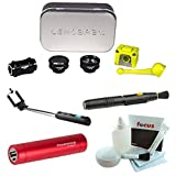 Lensbaby Deluxe Creative Mobile Lens Kit for iPhone 6 Plus/6S Plus + Selfie Stick with Bluetooth Remote + Portable Power Bank + Lens Pen Cleaning Tool + Digital Camera Accessory Kit