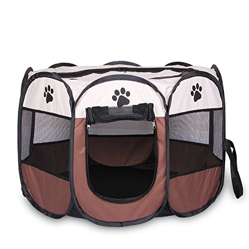 ZMVA Pet House Folding Cat Dog House Portable Waterproof Pet Tent Indoor & Outdoor Small Animals Shelter Lovely for…