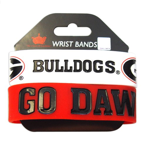 Bulldog Wristband (NCAA Georgia Bulldogs Sports Team Logo Fashion Wear Rubber Wrist Band Set Of 2)