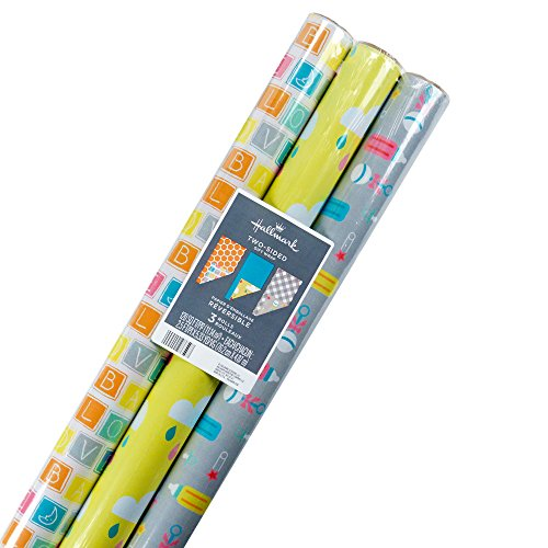 Hallmark Reversible Wrapping Paper, Baby Love (Pack of 3, 120 sq. ft. ttl.) -