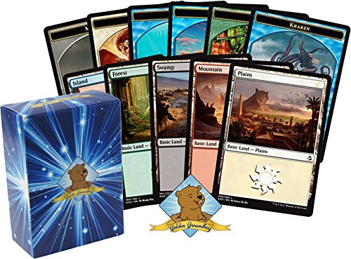 Land Magic Card - 100 Magic The Gathering Card Lot - 50 Basic Lands and 50 Token Cards! Includes Golden Groundhog Deck Box!