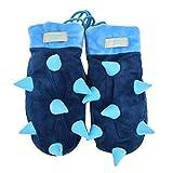 Monique Women Cute Hedgehog Design Noctilucence Gloves Winter Warm Luminous Gloves Mittens Blue
