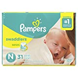 Pampers Swaddlers Disposable Baby Diapers Size 0, Jumbo Pack, 31 Count