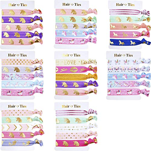 BBTO 40 Pieces Unicorn Colorful Hair Ties Bracelet Party Favors Birthday Gifts Supplies, Elastic Ponytail Holders Decorations for Girl and Children (Style 2)