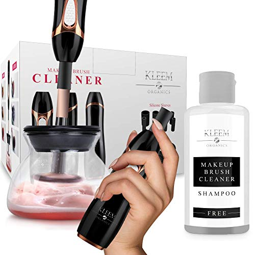 Makeup Brush Cleaner and Dryer Machine, Electric Cosmetic Automatic Brush Spinner with Rubber Collars, Wash and Dry in Seconds, Deep Cosmetic Brush Spinner for Makeup Brushes