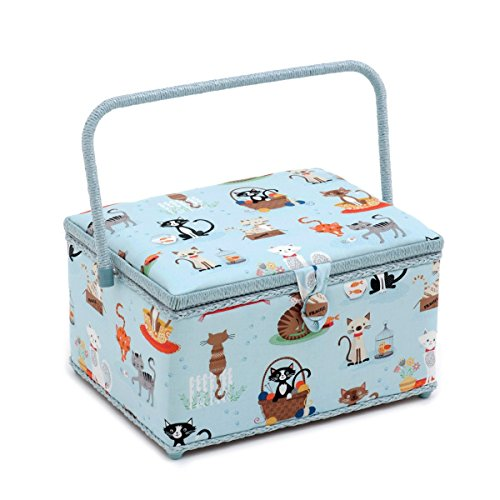 Crafty Cats - Hobby Gift 'Crafty Cats at Home' Large Rectangle Sewing Box 24 x 31.5 x 19.5cm (d/w/h)