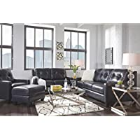 Ashley Furniture Signature Design - OKean Upholstered Leather Sleeper Sofa - Queen Size - Contemporary - Navy
