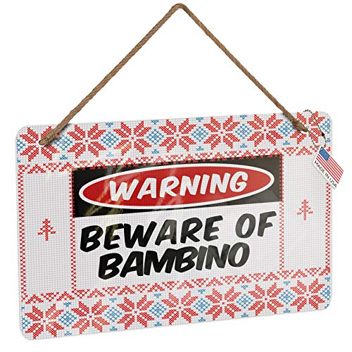 NEONBLOND Metal Sign Beware of The Bambino Cat from United States Vintage Christmas Decoration